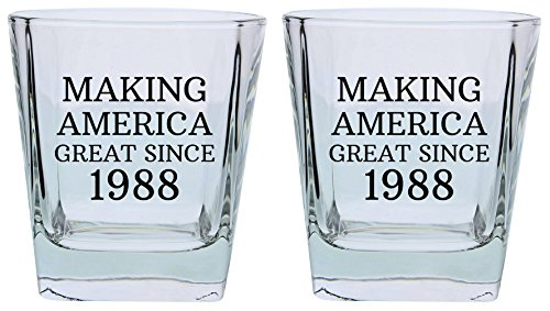 30th Birthday Gifts for Brother Sister Making America Great Since 1978 Republican Conservative 30th Birthday Party Supplies Square Lowball Glasses 2-Pack Square Lowball Tumbler Set Black by ThisWear