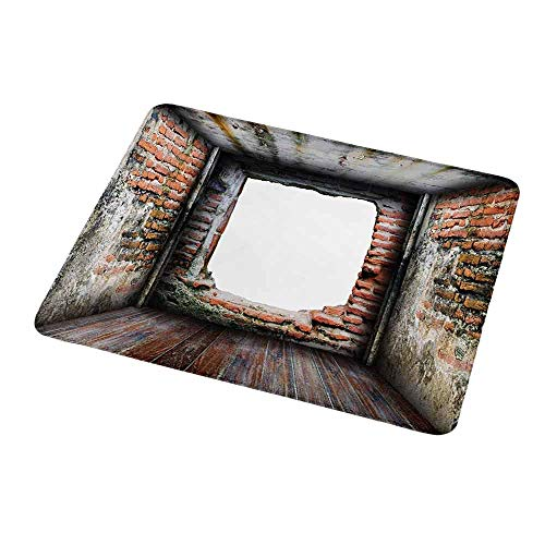 Rusty Orchid - Personalized Mouse Pad Modern,Abondoned Grunge Old Torn Interior Four Side Brick Walls Cracks Rugged Rusty Photo,Grey Redwood,Customized Desktop Laptop Gaming Mouse Pad 9.8