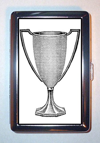 1920s Trophy Loving Cup Silver Graphic Art: ID Wallet or Cigarette Case USA Made Loving Trophy Cup