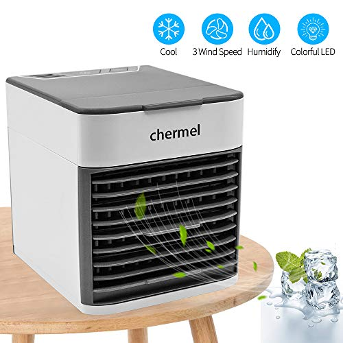 Air Cooler Fan, 3 in 1 Personal Air Conditioner, Humidifier, Evaporative Cooler Super Quiet Desktop Cooling Fan Table Fan for Office, Home, Camping