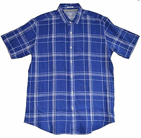 Bugatchi Uomo Shaped Fit Men's Short Sleeve Blue Linen Button Front Shirt (Medium) - Uomo Mens Fashion