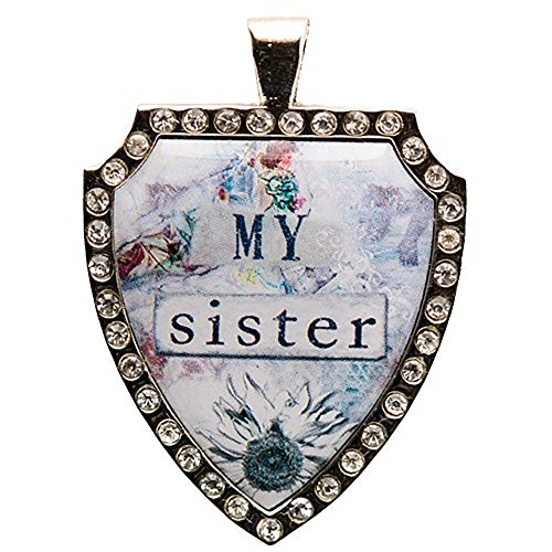 Santa Barbara Design Studio Rhinestone Bordered Shield-Shaped Jewelry Charm by Artist Sally Jean, My Sister (Silver Enamel Shield Charm)