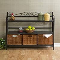 Harper Blvd Bakers Rack with Three Rattan Drawers
