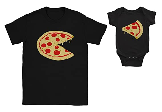 2f6eed159bd Pizza Pie and Slice Baby Bodysuit & Men's T-Shirt Matching Set Dad & Baby