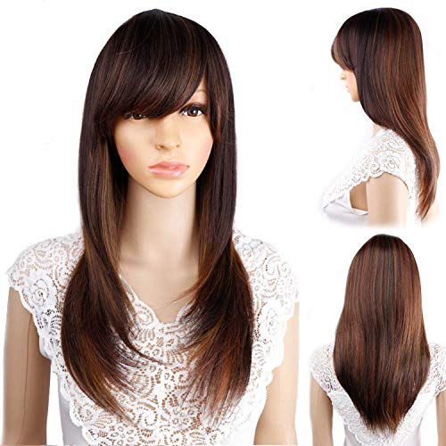 Ombre Straight Synthetic Wigs For Women Long Black Brown Two Tone Wigs With Bangs-in Synthetic None,T4/27/30,18inches