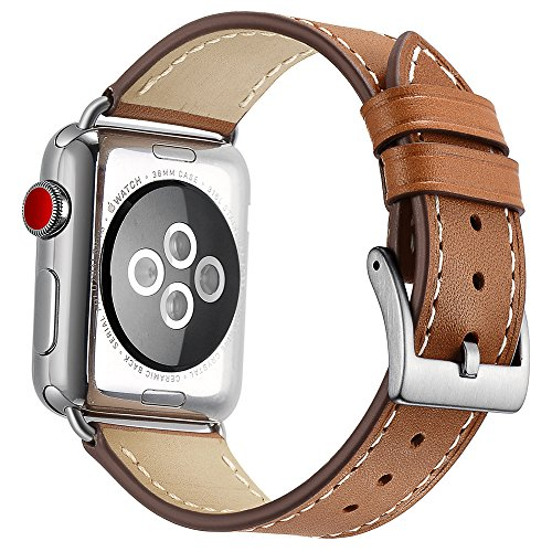 - OXWALLEN Compatible for Apple Watch Band 42mm 44mm, Genuine Leather Watch Strap Compatible with Apple Watch Series 4 (44mm) Series 3 Series 2 Series 1 (42mm) Sport and Edition, Brown-Silver Buckle