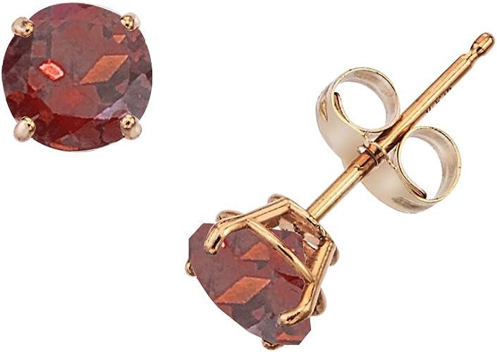 Garnet 14k Yellow Gold Youth Imitation January Birth Month Stone Flower Earrings