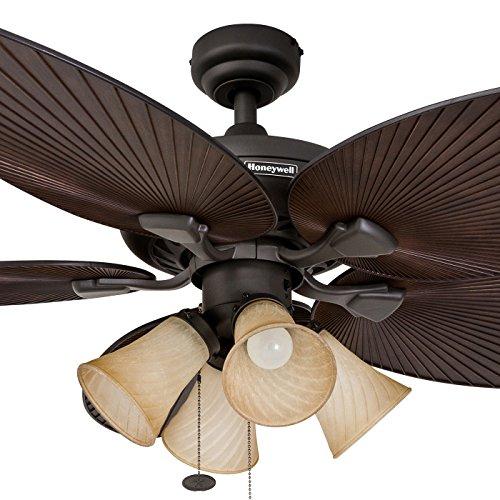 52 Gauguin Tropical 4 Blade Indoor Outdoor Ceiling Fan: Honeywell Palm Island 52-Inch Tropical Ceiling Fan