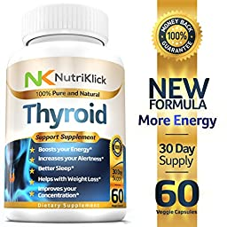 Thyroid Support Supplement with Iodine to Boost Energy & Mental Alertness Helps Weight Loss & Restful Sleep Increases Concentration Promotes Hair Growth Reduce Mood swings - 30 Day Supply