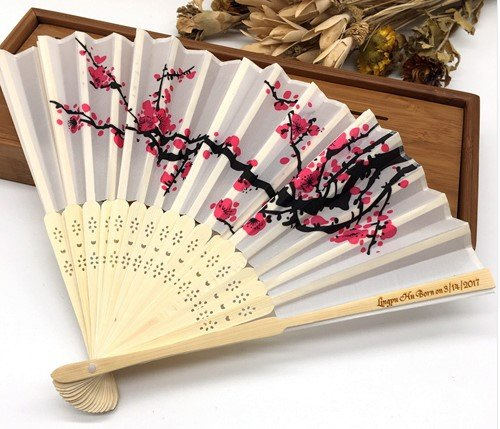 Engraving Customized 50Pcs/Lot Wedding Dancing Fan Plum Blossom Flower Print Folding Hand Designer White Polyester Fans by Hand Fan