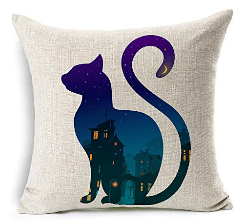 Halloween Night Castle Moon And Stars In Animal Cat Cotton Linen