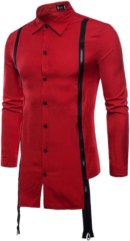 TTYLLMAO Hipster Camisa de Manga Larga con Doble Cierre y Botones para Hombre Rojo Rosso Medium: Amazon.es: Ropa y accesorios