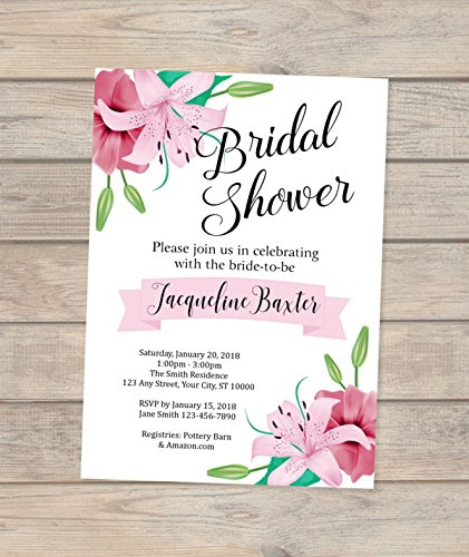 Lily Bridal Shower Invitations, Stargazer Lilies Bridal Shower Invitations, Lily Flowers Bridal Shower invitations