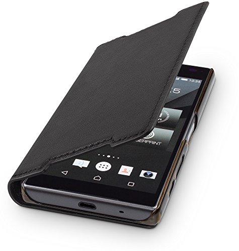 wiiuka Echt Ledertasche TRAVEL Sony Xperia Z5 Compact Hülle mit Kartenfach Schwarz extra Dünn Premium Design Leder Tasche Case