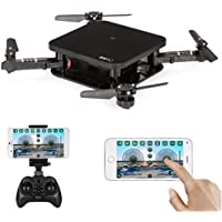 ALLCACA Mini RC Drone Foldable Wifi FPV Quadcopter Portable Pocket Quadcopters with 2.0MP Camera and Altitude Hold Function, Black