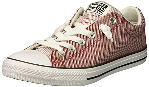 Converse Boys' Street Woven Canvas Slip On Sneaker, Gym red/Dolphin/White, 5.5 M US Big Kid (Orange Converse Sneakers)