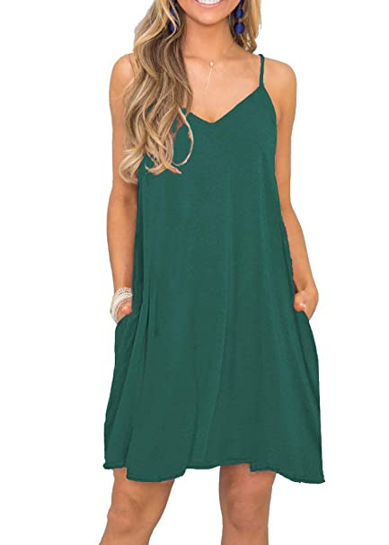 b630e6c2d7 MISFAY Women's Summer Spaghetti Strap Casual Swing Tank Beach Cover Up Dress  with Pockets (S
