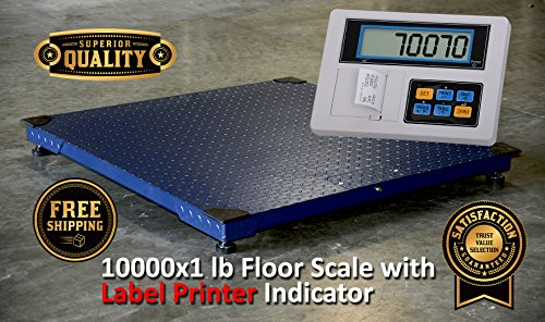 Prime Scales Heavy Duty 48'x48' Floor Scale | Pallet Scale with Label Printer Indicator + Calibration Certification