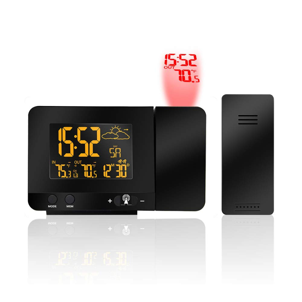 Multifunctional Projection Weather Clock, Radio Controlled Monitor Indoor/Outdoor Thermometer, Dual Alarm Clocks, HD LED Display with Dimmer,USPlug by CWWHY