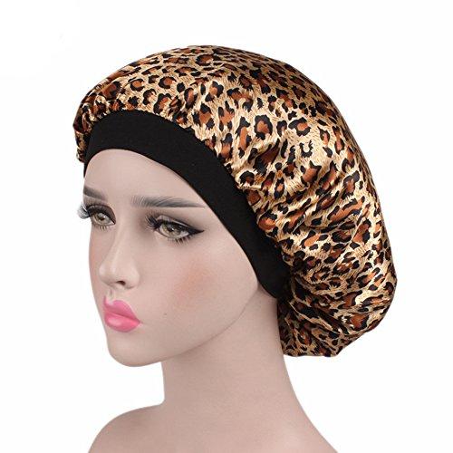 Wide Band Satin Chemo Hat Night Sleeping Hair Wrap Turban Headwear for Women,Set of 2 (Leopard) - Satin Hat Band