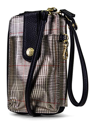 MUNDI Jacqui Vegan Leather RFID Womens Crossbody Cell Phone Purse Holder Wallet (Festive Plaid) (Best Leather Iphone 7 Case)