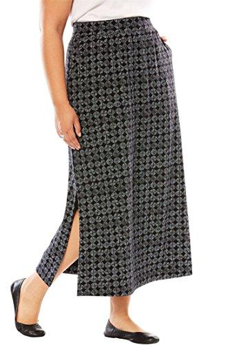 Women's Plus Size Petite Maxi Stretch Ponte Knit Skirt Black Circle Tile,26/28