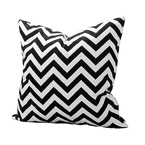 Laat - Funda de cojín para sofá o de almohada, diseño geométrico simple ondulado, 50 x 50 cm, algodón, negro, 50 x 50 cm