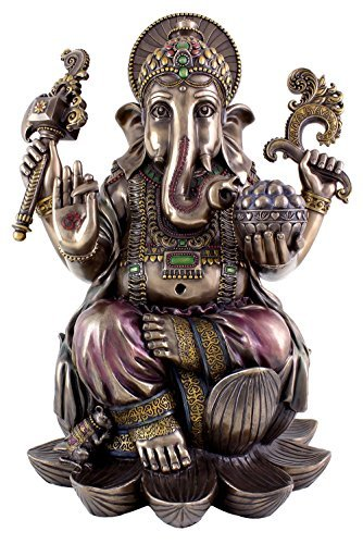 Top Collection Large Ganesh on Lotus Pedestal Statue- Ganesha Lord of Success and Destroyer of Evil Sculpture in Premium Cold Cast Bronze - 18-Inch Collectible Hindu Elephant Figurine