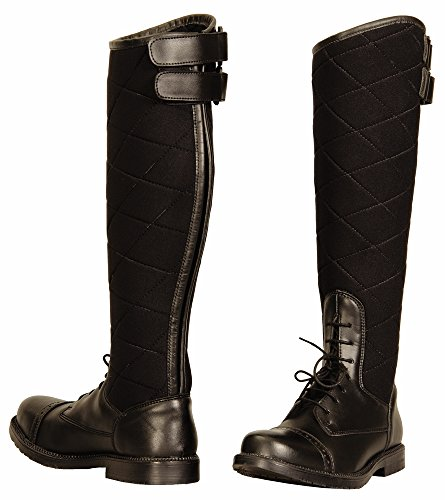TuffRider Women's Alpine Quilted Field Boots in Synthetic Leather, Black, 6 Slim
