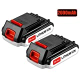 Battery for Black and Decker 20v Lithium-Ion 2000mAh,Replacement 20 Volt Max LBXR20 LB20 LBX20 LBX4020 Extended Run Time Cordless Power Tools Series Battery (2 Packs)