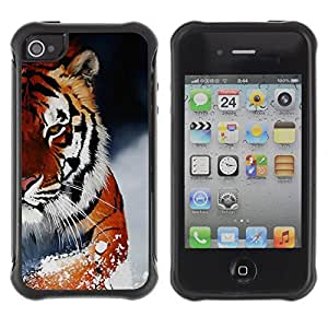Hybrid Anti-Shock Defend Case for Apple iPhone 4 4S / Ferocious Snow Tiger