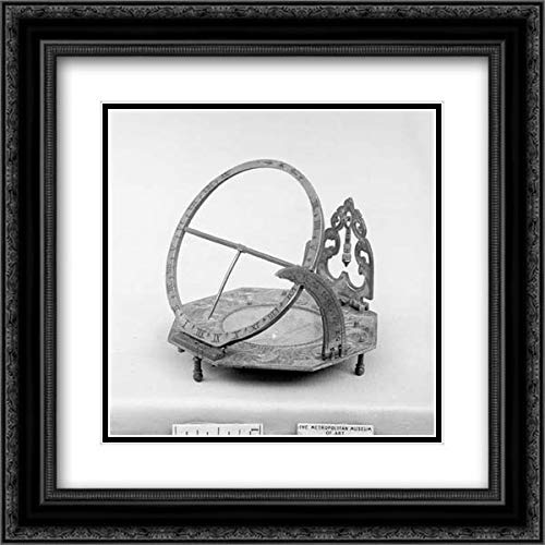 Andreas Vogler - 28x28 Black Ornate Frame and Double Matted Museum Art Print - Portable Equatorial Sundial