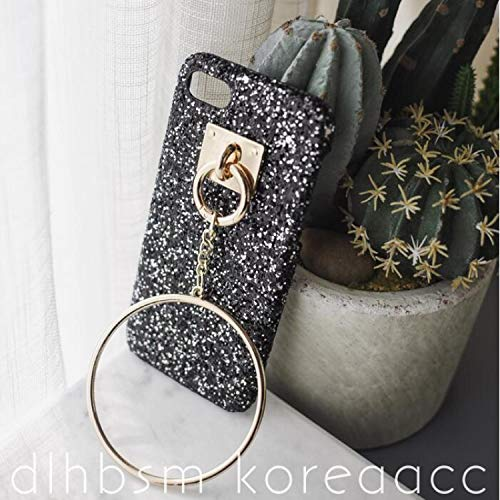- Hard Case for iPhone 6 6S Plus 7 7 8 Plus Case Luxury Big Metal Ring Circle Fox Fur Ball Cover for iPhone 6S Case Glitter Bling