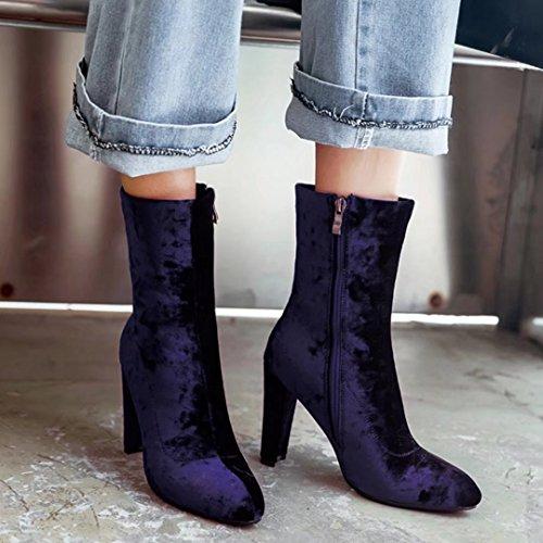 AIYOUMEI Damen Wildleder High Heels Winter Stiefeletten mit 10cm Absatz Modern Warm Stiefel Schuhe Lila