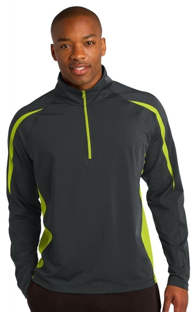 Sport-Tek Men's Sport Wick Stretch 1/2 Zip 3XL Charcoal Grey/Charge Green by Sport-Tek