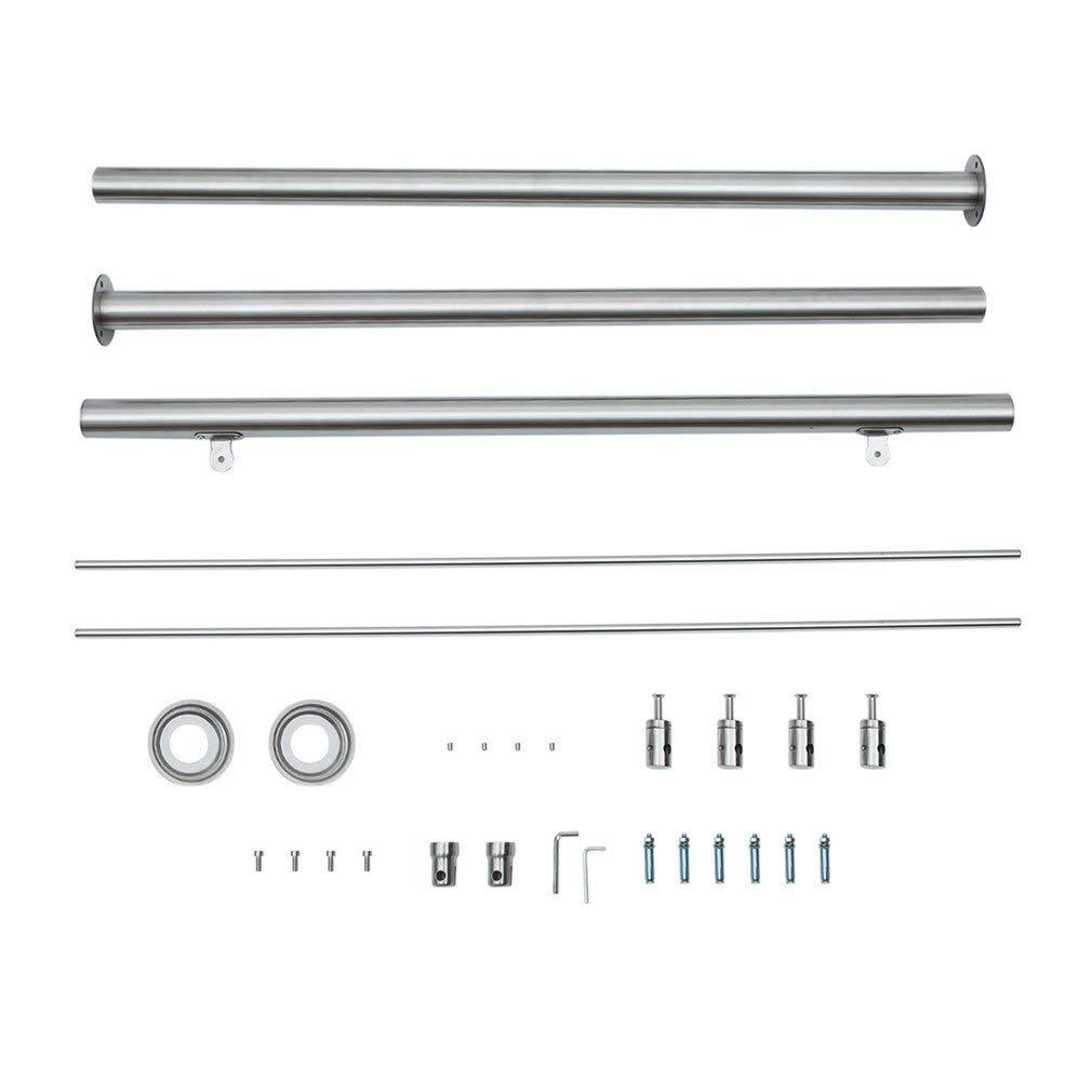 150CM Gel/änder Edelstahl Handlauf f/ür Treppen Br/üstung Balkon mit 2 Pfosten 3 Querstreben Silber
