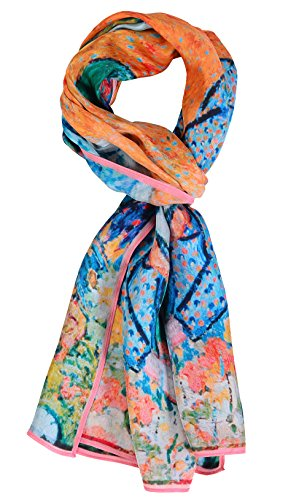 Salutto Women 100% Silk Scarves Van Gogh Memory of the Garden at Etten Painted Scarf (10)
