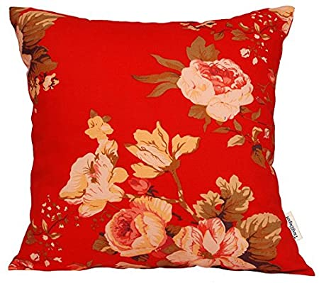TangDepot 100% Cotton Floral/Flower Printcloth Decorative Throw Pillow Covers /Handmade Pillow Shams, 14 Color and 10 Size options, Light Black, Peach Blossom, Red Rosebush, Red And Green Leaf, White Magnolia, Fantastic Flowers, Chrysanthemum, Peony, Red A