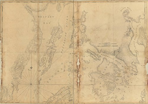 Map: 1776 Coast of Maine showing Blue Hill Bay, Penobscot Bay, Belfast Bay, Islesboro Island, Deer Island, and other islands|Atlantic Coast|Atlantic Coast Me|Coasts|Maine|Nautical - Bay Locator Store