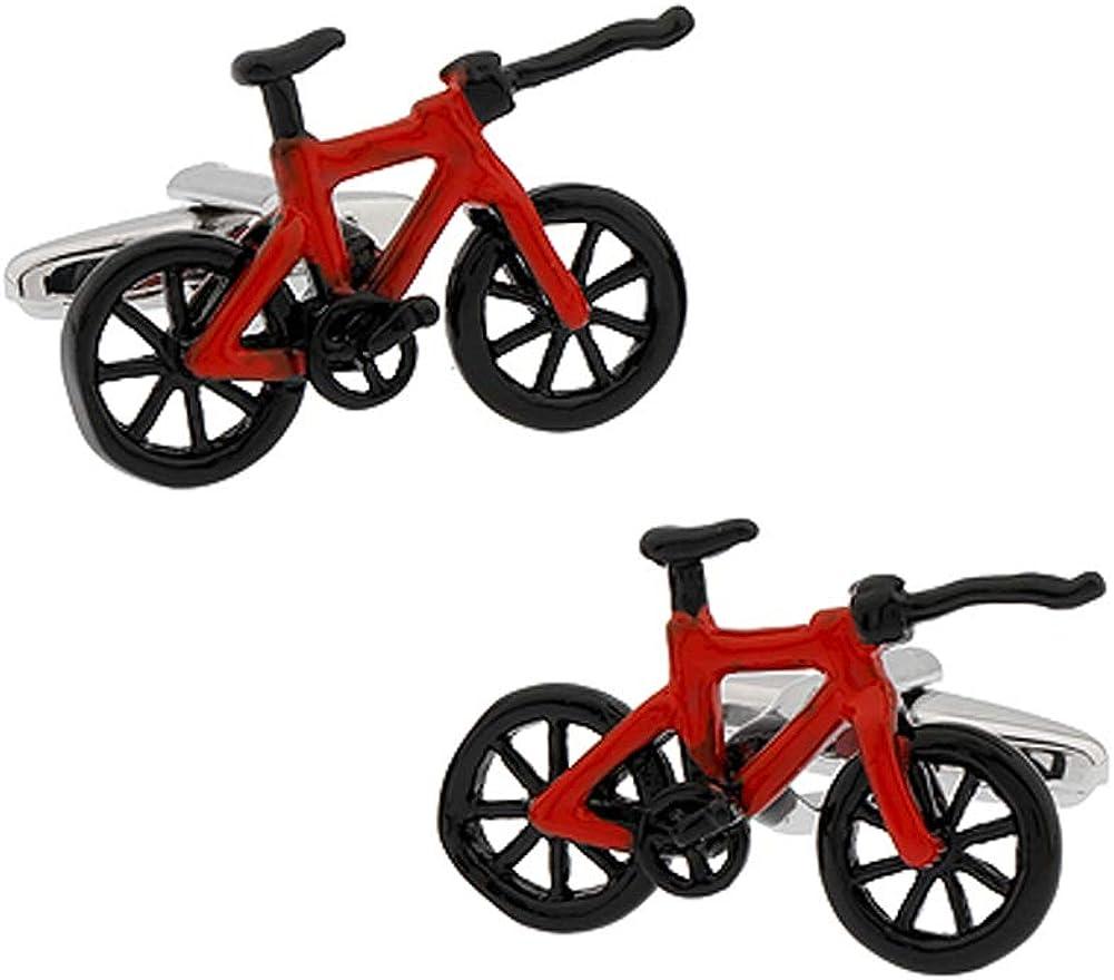 CIFIDET Boutons de manchette rouges noirs de v/élo de bicyclette de hommes hommes de chemise de chemise avec la bo/îte-cadeau