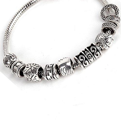 RUBYCA 50pcs Bulk Tibetan Silver Color Loose Charm Beads and 1pcs European Charm Bracelet 8.3 Inch ()