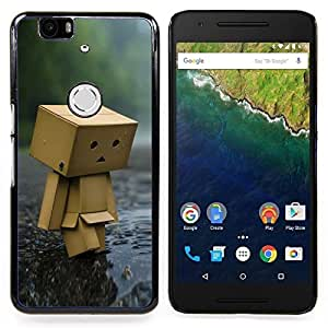 "Qstar Arte & diseño plástico duro Fundas Cover Cubre Hard Case Cover para Huawei Google Nexus 6P (Toy Figurine Wood Forest Rain Arte Moderno"")"