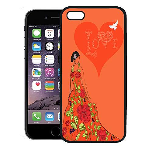 Semtomn Phone Case for iPhone 8 Plus case,Blue Flower Bride Beautiful Floral Dress Red Veil Woman Adult Beauty iPhone 7 Plus case Cover,Black ()