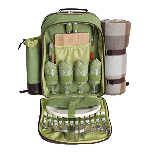 Picnic Pack Picnic Backpack for 4 with Insulated Cooler a...