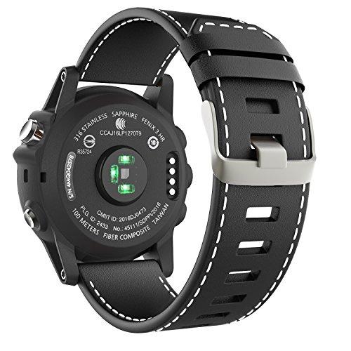 MoKo Garmin Fenix 3 / Fenix 5X Watch Band, Premium Genuine Leather Replacement Watch Band Fit Garmin Fenix 3 / Fenix 3 HR/Fenix 5X / 5X Plus / D2 Delta PX/Descent mk1 Smart Watch, Black