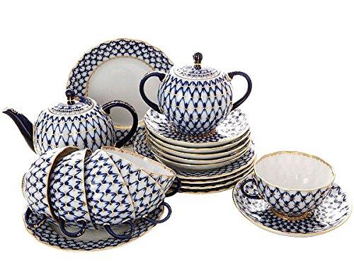 (Lomonosov Porcelain Tulip Cobalt Net Tea Set 6/20: Tea Pot, Sugar Bowl, 6 Cups with Saucers and 6 Cake Plates.)