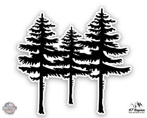 """Spruce Trees - 5"""" Vinyl Sticker - For Car Laptop I-Pad - Waterproof Decal"""