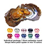 Twins in Mix 10 Colors of 7-8mm Akoya Round Cultured Pearl Oysters Saltwater Grade AAA, 20pcs