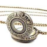 Unisex Steampunk Antique Vintage Rib Quartz Pocket Watch Fashion Pendant + Chain Necklace Zodiac