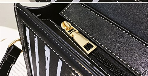 Women Shoulder Vertical Ladies Handbags Flap For Leather Black Bag Fashion Small Crossbody Stripes Bags Women PU Messenger Small Bags FxdOvqw